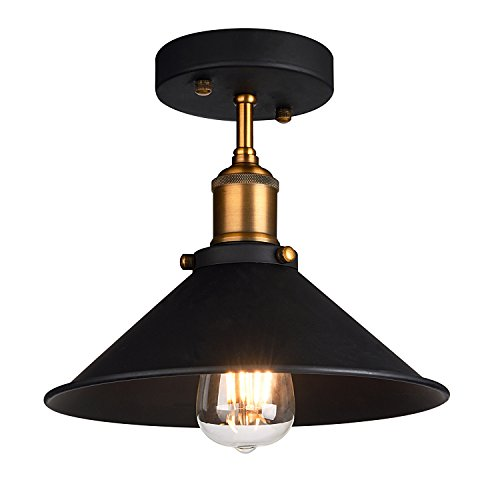 Industrial Ceiling Light,Oak Leaf Semi Flush Vintage Metal 1 Light Pendant  Lighting Shade Chandelier