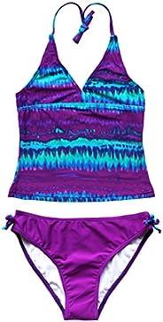 Freebily Kids Girls Tankini Swimsuit Halter Neck 2 Piece Floral Tie-Dye Tops Bathing Suit Swimwear Swimsuit