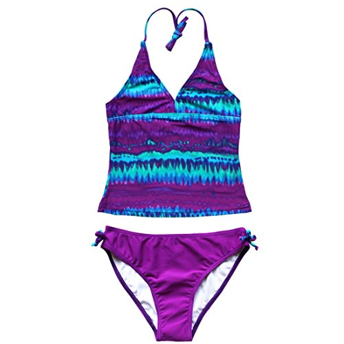 FEESHOW Big Girls Tie-Dye Swimsuit 2 Piece Halter Tankini Swimwear Bathing Suit Size 14 Purple