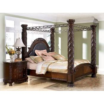 Amazon Com Ashley North Shore King Canopy Bed In Dark Wood Kitchen Amp Dining