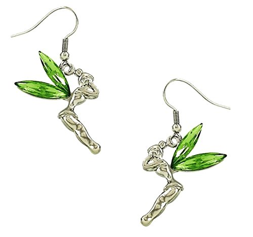 DianaL Boutique Tinkerbell Fairy Earrings Green Crystal Wings Gift Boxed Tinker Bell