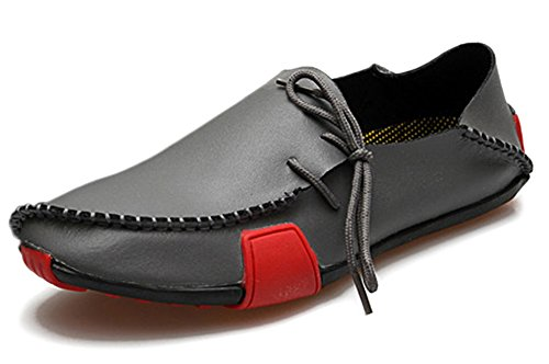 Fangsto Mens Mocassini Pantofole In Vera Pelle Scarpe Basse Slip-on Nero