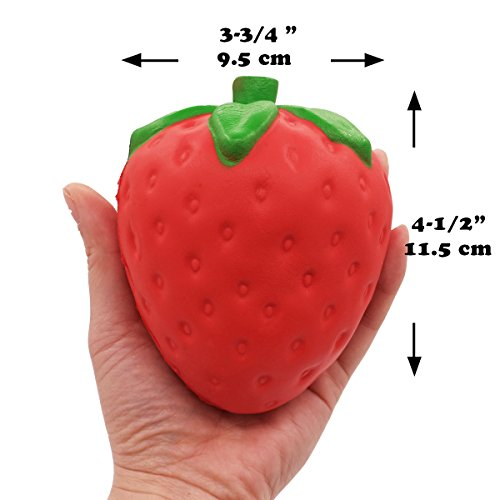 LimBridge Jumbo Squishies Strawberry & Peach Squishy Fidget Toys Smell Good Slow Rising 2 Pack for Kids Girls Photo #3