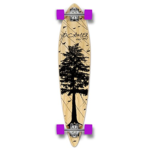 Yocaher in The Pines Natural Longboard Complete Skateboard - Available in All Shapes (Pintail)