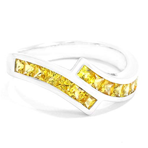 - TIAMO Classic Ring Genuine Natural Yellow Sapphire 1.23cts. Silver Rhodium Plated Nickel-Free Women Size 4 to 14