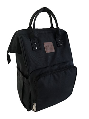 Citi Babies Black Diaper Bag Backpack - Water Resistant, Shoulder Strap, Large Capacity, Insulated Bottle Pockets, Changing Pad, Stroller Clip- Trendy Diaper Bag for Dad & Mom or Baby Shower