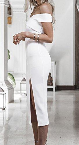 Corta Eleganti Vestito Vestiti Da Donna Coctel V Bianco Scollo Estivi Vestitini Manica Abito Lunga Cerimonia Solido Slinky Spacco Elegante Donne Sera Cwqgpn5q7