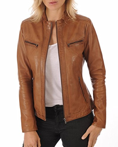 Prim leather Womens Lambskin Leather Bomber Biker Jacket