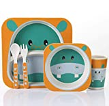 qnmbdgm Plate Ceramic 5Pcs/Set Animal Zoo Baby Plate Bow Cup Forks Dinnerware Feeding Set 100% Bamboo Fiber Baby Children Tableware Set