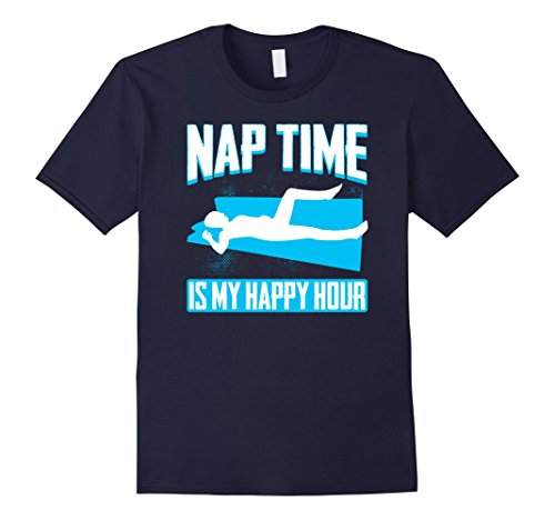 Mens Nap Time Is My Happy Hour Funny Tee Vision T-Shirt Large Navy