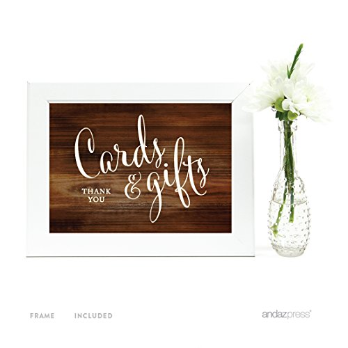 Andaz Press Wedding Framed Party Signs, Rustic Wood Print, 5x7-inch, Cards and Gifts Thank You, 1-Pack, Includes - Gift Frame Card