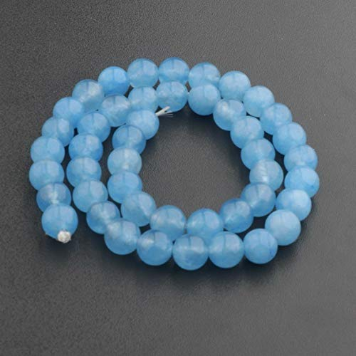 Mikash Natural Stone Sea Sediment Gemstone Round Beads DIY Bracelets 15 4mm 6mm 8mm | Model BRCLT - 7535 | Jade blue-8mm