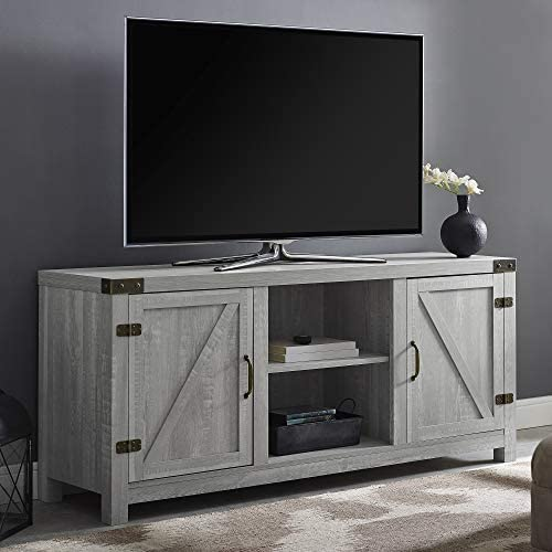"Walker Edison Furniture Company Farmhouse Barn Wood Universal Stand for TV's as much as 64"" Flat Screen Living Room Storage Cabinet Doors and Shelves Entertainment Center, 58 Inch, Stone Grey"