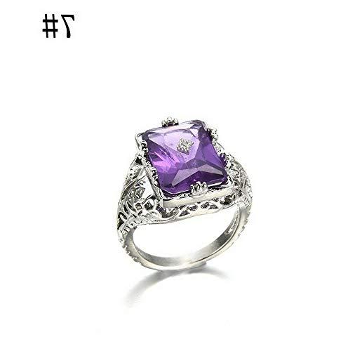 (Crookston Purple Amethyst Zircon Silver Fil Ring Women Wedding Bridal Jewelry Size 6-10 | Model RNG - 2846 | 7)