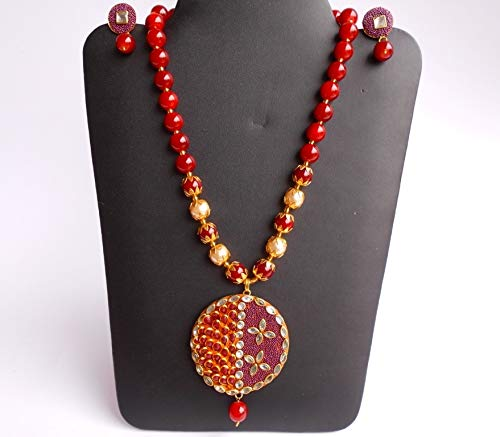 Ethnic Handmade Amrapali Golden Thread Pachhi Blood Red Glass Stone Beads Necklace N0709/_18