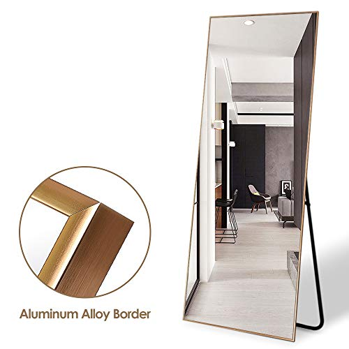 ONXO Full Length Mirror Large Floor Mirror Standing or Wall-Mounted Mirror Dressing Mirror Frame Mirror for Living Room/Bedroom/Cloakroom (65X22, Gold)