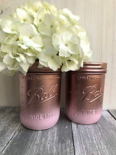 Vase Precious - Metallic Rose Gold and Pink Painted Wide Mouth Mason Jars Rustic Decor Centerpieces For Bridal Shower, Set of 2 Glass Flower Vases