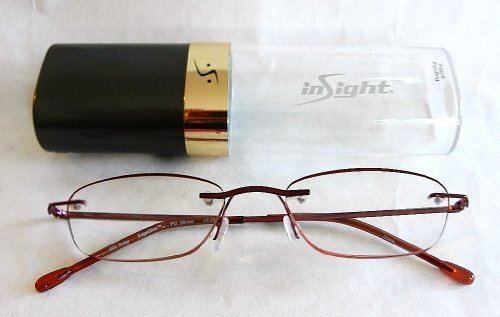 +1.00 Insight Quality Red Edgeglow Rimmless Reading Glasses w/ Hard Case (192) + FREE Bonus Micro-suede Cleaning - Outlet Raybans