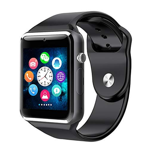 Bluetooth Touch Screen Smart Watch with Camera Fitness Tracker Pedometer Sync Calls Waterproof Smartwatch for Android/iOS/iPhone Smart Phones(Plain Black)