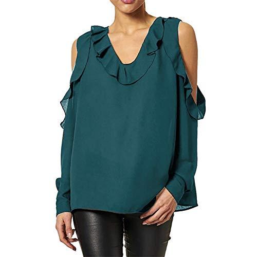 Mousseline Womens Tonsee Couleur Volants Casual De Mode Blouse Hors Hauts Automne Loose paule Soie en Vert Shirt Solide Dames 1IBxBwqg