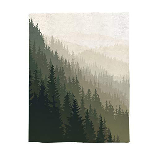 """KAROLA Throw Blanket for Bed Couch Sofa Soft, Warm Luxury Chic Decorative Fleece Blanket, Nature Forest Landscape Watercolor Pine Trees 40"""" x 50"""""""