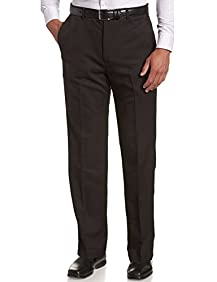 Signature Men's Dress Flat Front Pants With Hidden Expendable Waist