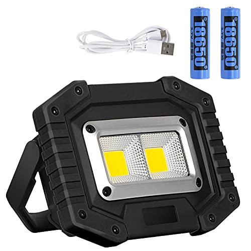Lyneun 30W LED Baustrahler, Arbeitsstrahler Strahler Akku USB Wiederaufladbares, IP65 Wasserdicht Arbeitsleuchte…