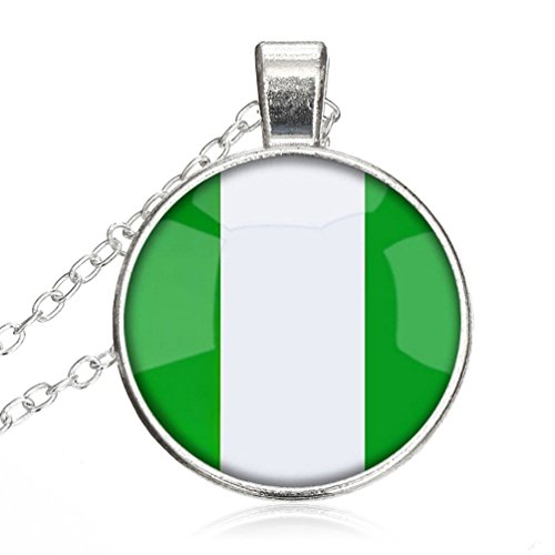 Silver Necklace Federal Republic Of Nigeria National Flag Special Design Glass Cabochon Dome Jewelry by Pretty - Federal Crystal Glass