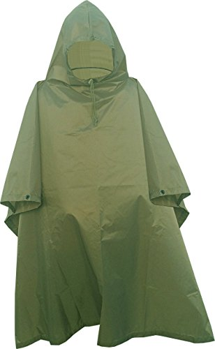 - Fire Force Military Style Ripstop Nylon Poncho Size: 55 x 90 Made in U.S.A. Ripstop Rain Poncho (Olive Green)