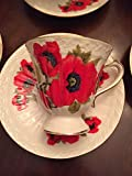 Tuweep ONE Coffee Cup+Saucer~Poppy Flowers Grace TEAWAREWHITE Porcelain~Gold Edge~New
