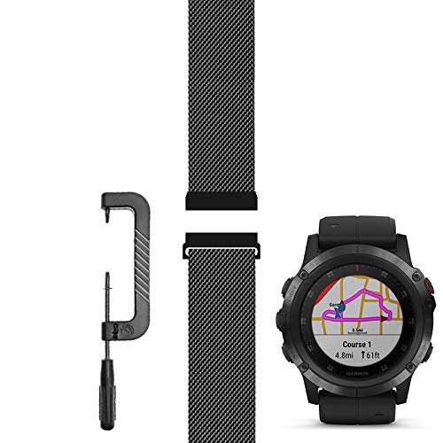 C2D JOY Compatible with Garmin FX5/5S/5X(Plus) Replacement Band 20/22/26mm Accessories (Custom Pin Removal Tool) Metal Weave Strap for Daily Wear Watchband - (26?) Fenix 5X (Plus), M/5.5-7.6 in.