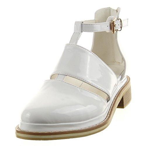 Sopily - Chaussure Mode Bottine Sandale Low boots hauteur cheville femmes Brillant verni boucle Talon bloc 3.5 CM - Blanc