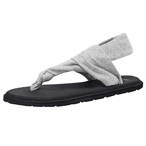 CIOR Women's Yoga Sling Flip Flops Flat Mat Thong Sandals with mat Meditation Lightweight Shoes for Studio and OutdoorU118SLT001,Gray,F,39 - Fabric Strap Flip Flop