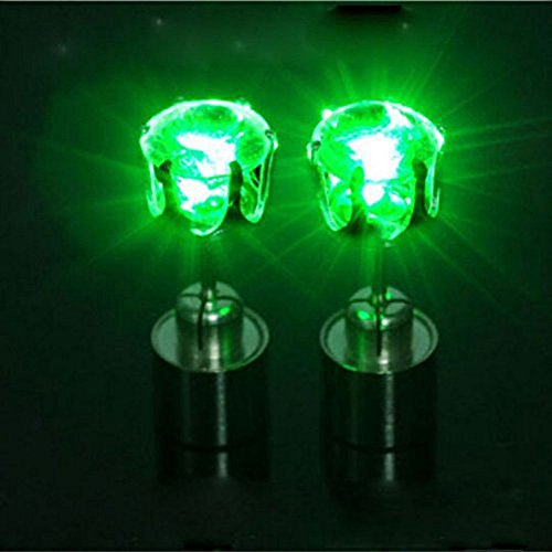 Green  Led Glowing Light Up Earrings Flash Bling Ear Studs Dance Club Party Acc Gift