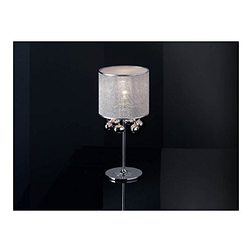 Schuller Spain 174414I4L Modern, Art Deco Chrome Drum Shade Table Lamp 1 Light Living Room, bed room, Study, Bedroom LED, Chrome Mesh Shade Table Lamp | ideas4lighting by Schuller