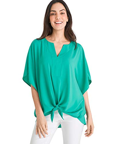 Chico's Women's Tie-Front Flutter-Sleeve Top Size 0/2 XS (00) Green (00 Tie)