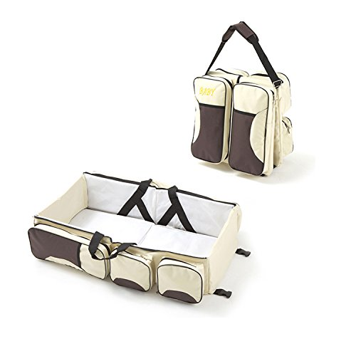 Multi-function Convertible Diaper Bag Changing Station Foldable Baby Bed Portable Bassinet Bag Travel Baby Bed (Brown&Beige) by TianYu