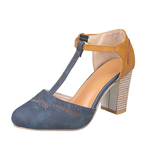 Mostrin Womens Classic t-Strap Buckle Sandals Chunky high Heels Vintage Oxfords Mary Jane Pump Shoes Hollow Shoes Blue -