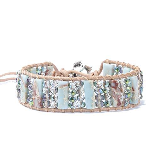YGLINE Leather Chakra Handmade Imperial Jasper Wrap Adjustable Bead Bracelet
