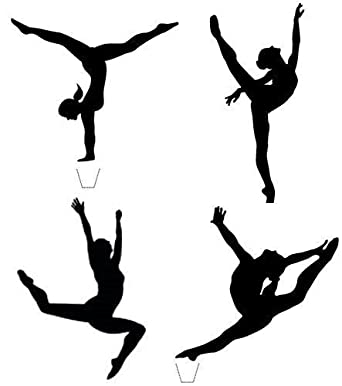 12 x novelty gymnast silhouette mix any colour edible standup