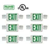 Doitpower 6 Pack LED Exit Emergency Lighting,Back -up Letter Cover,LED Exit Sign Emergency Wall Light, 120V/277V AC Dual Voltage Operation Green Letter (6 Pack)