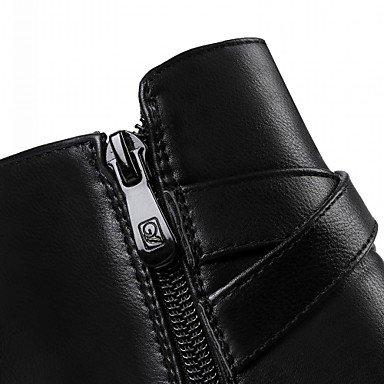 Heart&M Mujer Zapatos PU Otoño Invierno Botas de Moda Botas Tacón Robusto Dedo redondo Botines Hasta el Tobillo Hebilla Para Casual Negro Marrón black