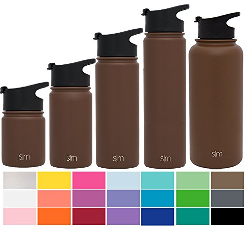 Simple Modern 32oz Summit Water Bottle + Extra Lid - Vacuum Insulated Stainless Steel Wide Mouth Thermos Hydro Travel Mug Liter - Powder Coated Double Wall Flask - Java Brown