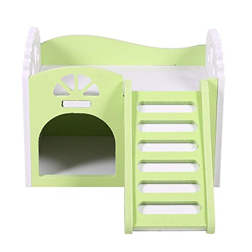 HEEPDD 3Colors Wooden Double Decker Hamster House with Stair Pet Home Hideout Exercise Toys for Squirrels Gerbils…