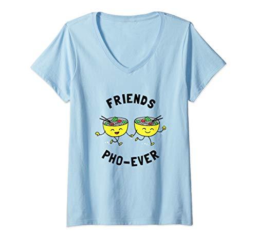 Womens Friends Pho-Ever product - Funny Pho Noodles Soup V-Neck T-Shirt (Best Pho Noodle Brand)