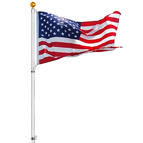 Yeshom 30 ft Telescopic Flag Pole Kit 16 Gauge Aluminum Flagpole 3'x5' US Flag & Ball Fly 2 Flags Outdoor Garden ()