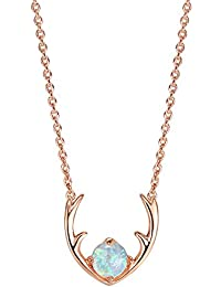 """14K Gold Plated Native American Jewelry Deer Antler Necklace with Created Opal 16-18"""""""