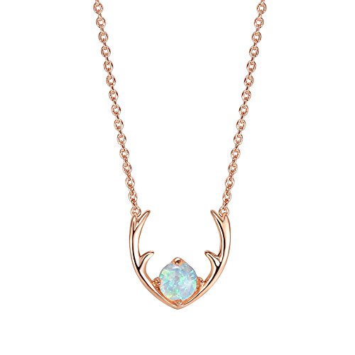PAVOI 14K Rose Gold Plated Native American Jewelry White Opal Deer Antler Necklace 16-18""