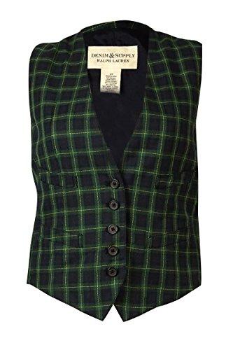 Ralph Lauren Plaid Vest - Denim & Supply Ralph Lauren Womens Plaid Button Fron Vest Navy M