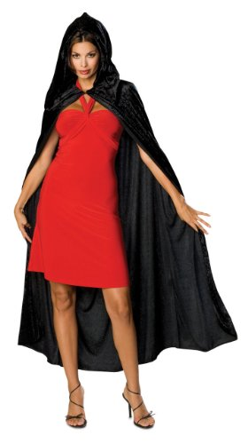Rubie's Full Length Crushed Velvet Hooded Cape, Black, One Size